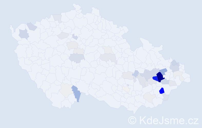 Příjmení: 'Čoček', počet výskytů 136 v celé ČR