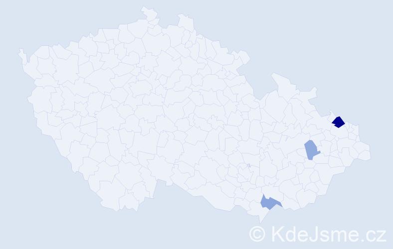 Příjmení: 'Gruňová', počet výskytů 9 v celé ČR