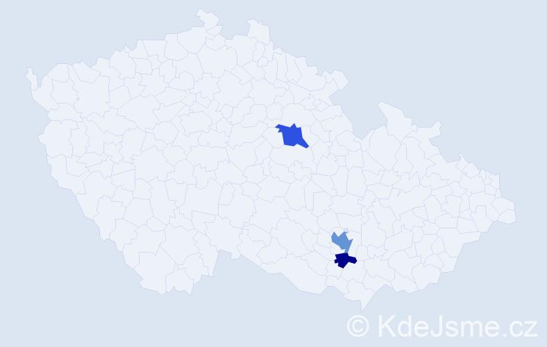 Příjmení: 'Báder', počet výskytů 6 v celé ČR