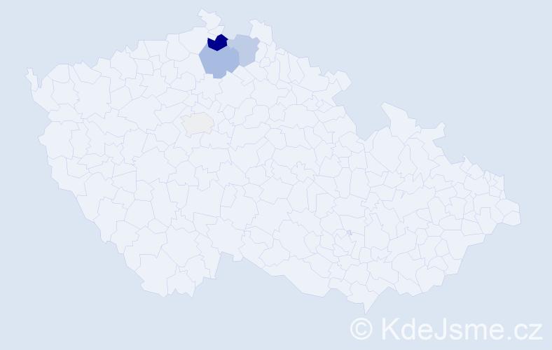 Příjmení: 'Čangelová', počet výskytů 10 v celé ČR