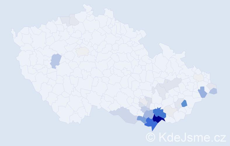 Příjmení: 'Esterka', počet výskytů 139 v celé ČR