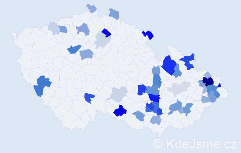 Příjmení: 'Juřina', počet výskytů 161 v celé ČR