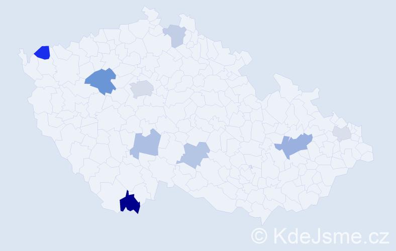 Příjmení: 'Čižík', počet výskytů 15 v celé ČR