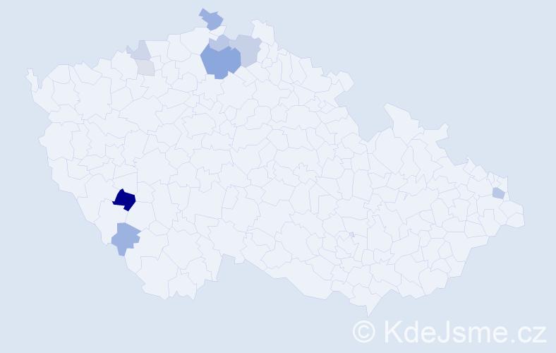 Příjmení: 'Hlobíková', počet výskytů 21 v celé ČR