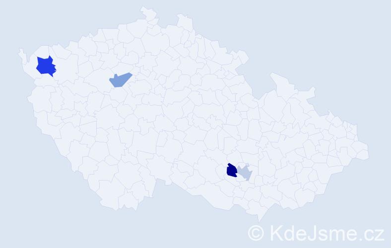 Příjmení: 'Čipáková', počet výskytů 5 v celé ČR