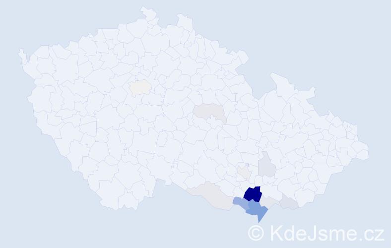 Příjmení: 'Herůfková', počet výskytů 39 v celé ČR