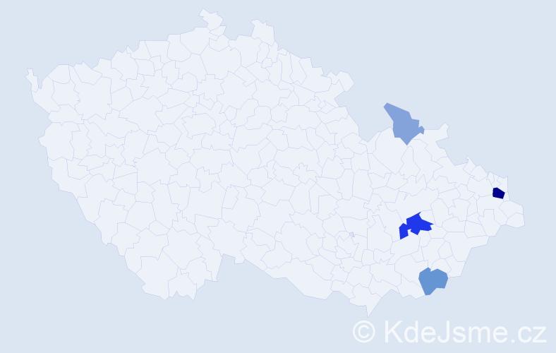 Příjmení: 'Magyarics', počet výskytů 16 v celé ČR