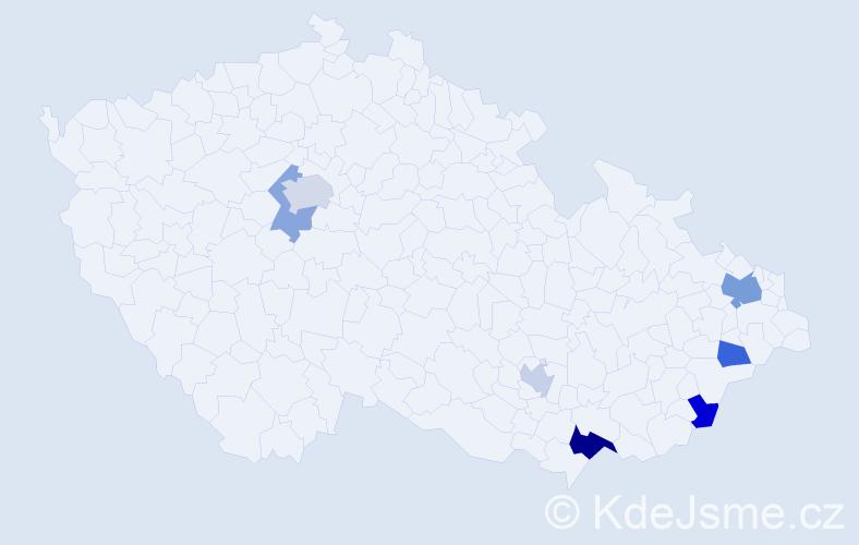 Příjmení: 'Gajdarus', počet výskytů 12 v celé ČR