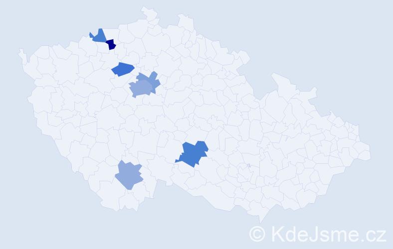 Příjmení: 'Enický', počet výskytů 13 v celé ČR