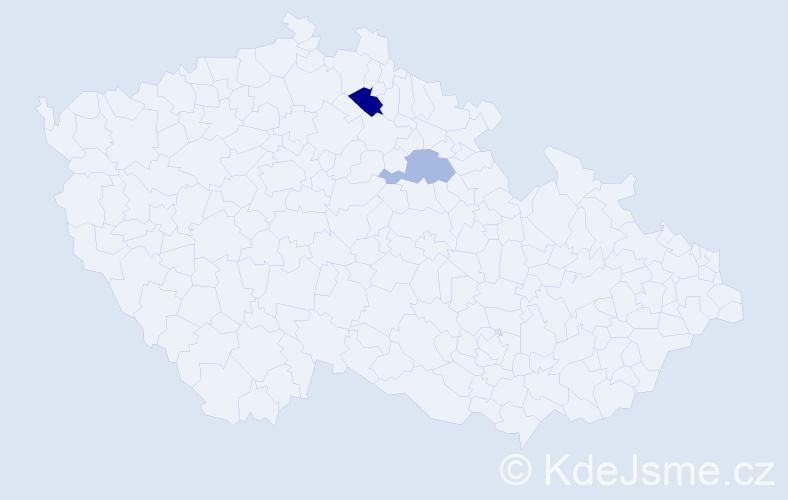 Příjmení: 'Balounková', počet výskytů 3 v celé ČR