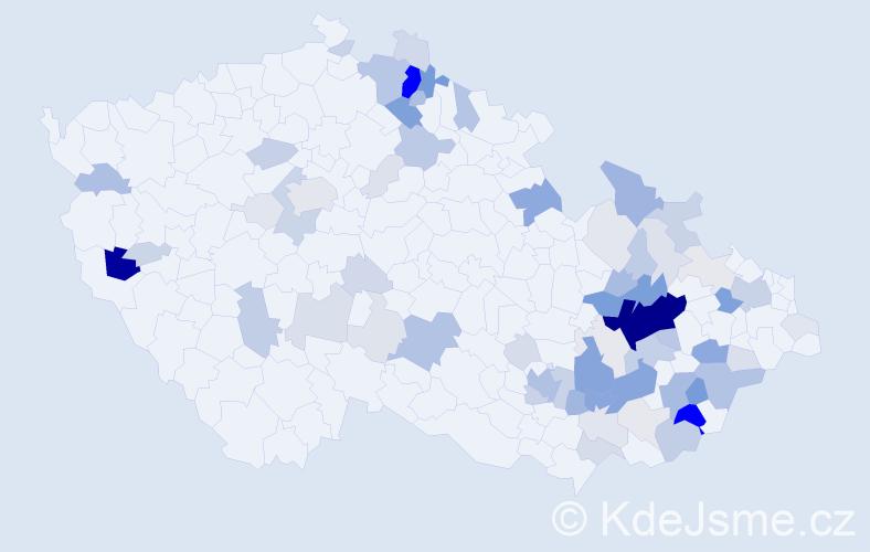 Příjmení: 'Kubáček', počet výskytů 282 v celé ČR