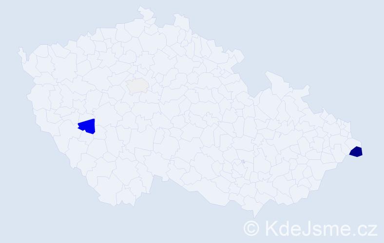 Příjmení: 'Hrončoková', počet výskytů 12 v celé ČR