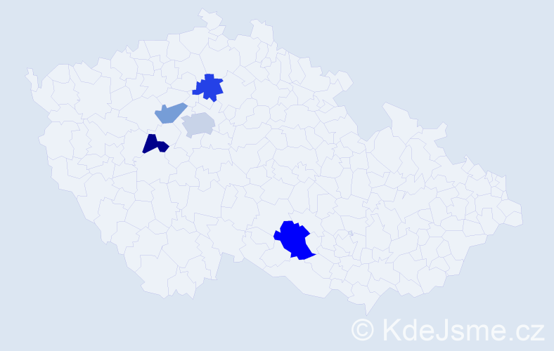 Příjmení: 'Haugwitz', počet výskytů 7 v celé ČR