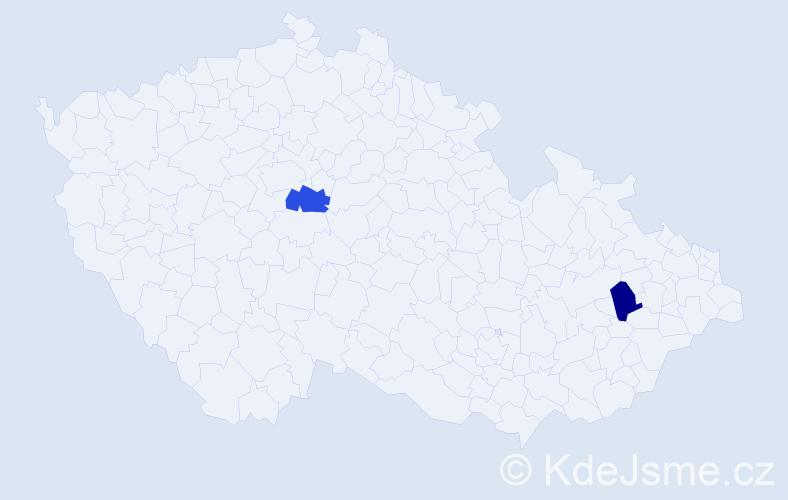 Příjmení: 'Behar', počet výskytů 2 v celé ČR