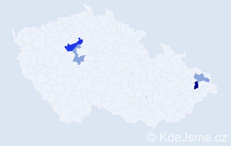 Příjmení: 'Hardynová', počet výskytů 10 v celé ČR