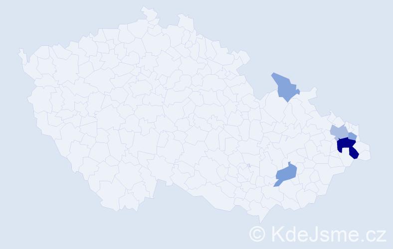 Příjmení: 'Kočner', počet výskytů 17 v celé ČR