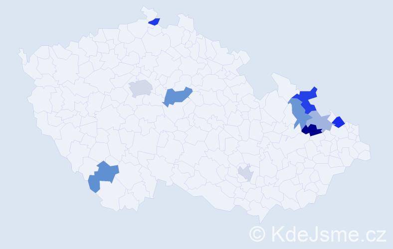 Příjmení: 'Klučarová', počet výskytů 15 v celé ČR