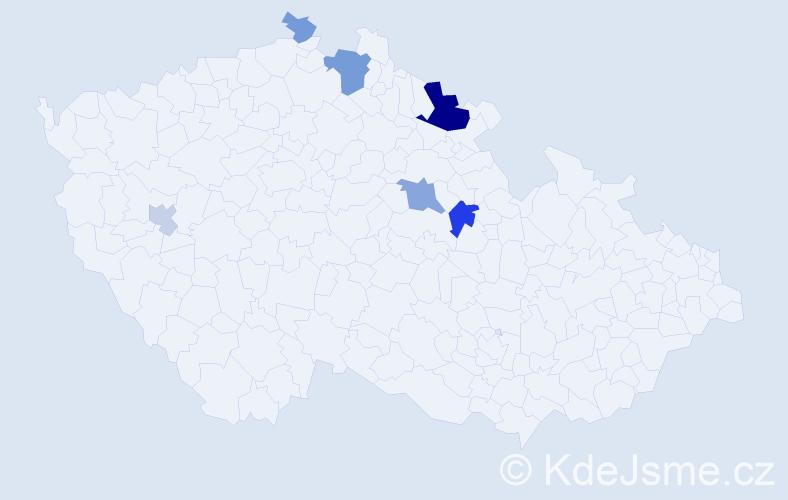 Příjmení: 'Čočová', počet výskytů 15 v celé ČR
