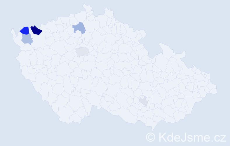 Příjmení: 'Kandrik', počet výskytů 9 v celé ČR