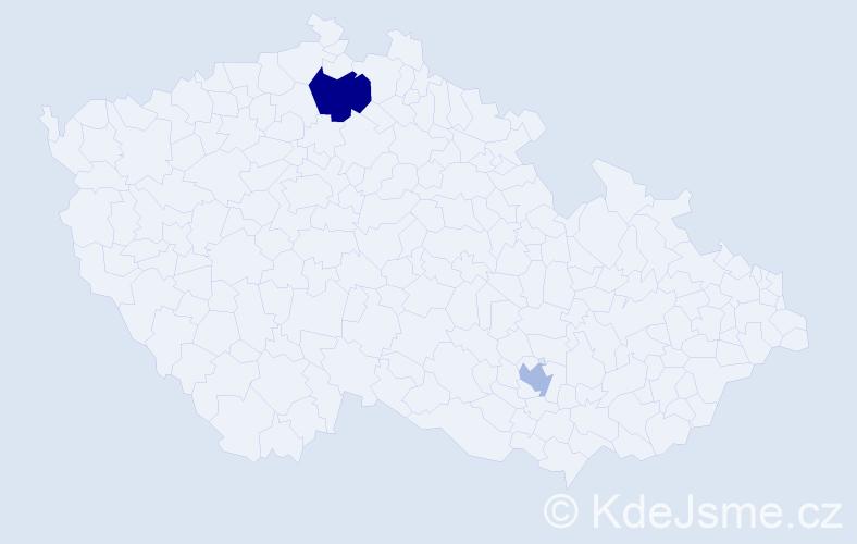 Příjmení: 'Bohúňová', počet výskytů 3 v celé ČR
