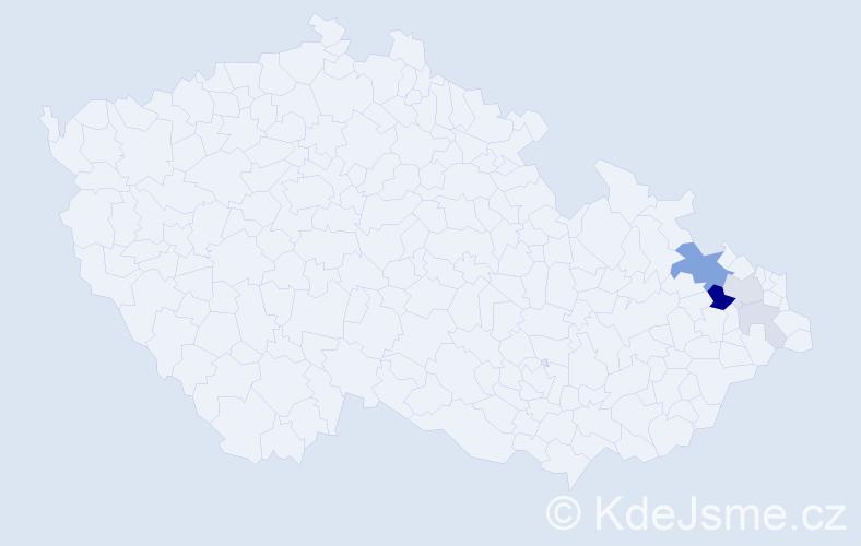 Příjmení: 'Čavera', počet výskytů 14 v celé ČR