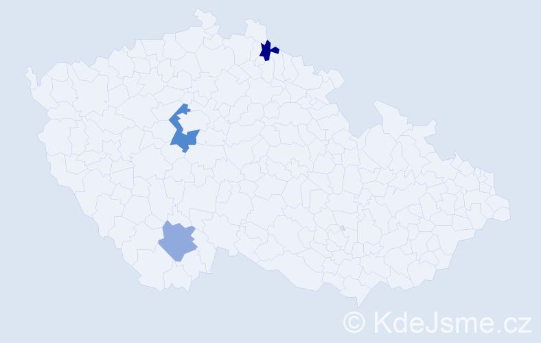 Příjmení: 'Kobezda', počet výskytů 4 v celé ČR