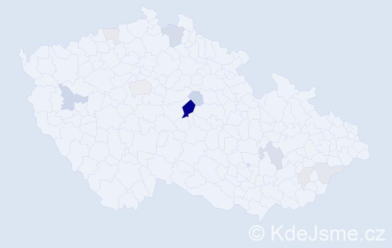 Příjmení: 'Kavánek', počet výskytů 28 v celé ČR
