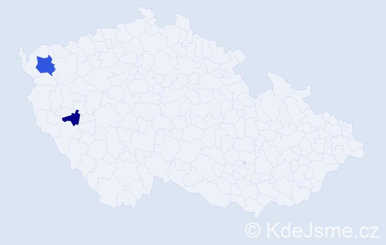 Příjmení: 'Ladka', počet výskytů 3 v celé ČR
