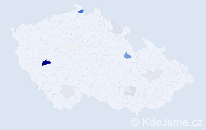 Příjmení: 'Čižmáriková', počet výskytů 18 v celé ČR