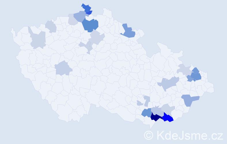 Příjmení: 'Gavlíková', počet výskytů 60 v celé ČR