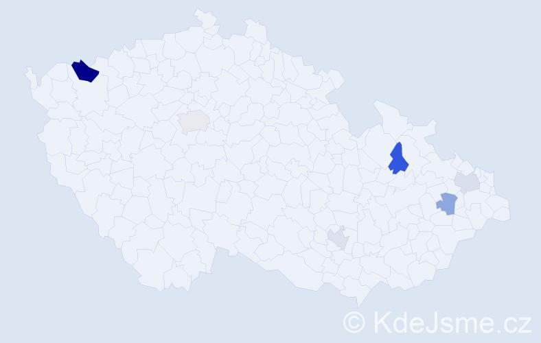 Příjmení: 'Bajzik', počet výskytů 8 v celé ČR