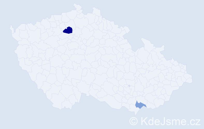 Příjmení: 'Gáblová', počet výskytů 6 v celé ČR