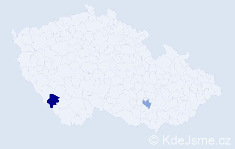 Příjmení: 'Lamparterová', počet výskytů 4 v celé ČR