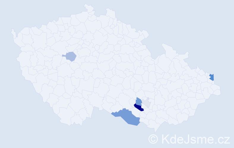 Příjmení: 'Caesarová', počet výskytů 13 v celé ČR
