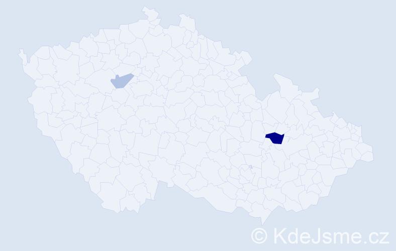 Příjmení: 'Frantik', počet výskytů 3 v celé ČR