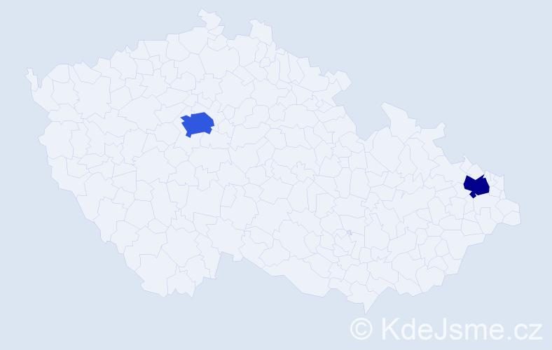 Příjmení: 'Kemeň', počet výskytů 3 v celé ČR