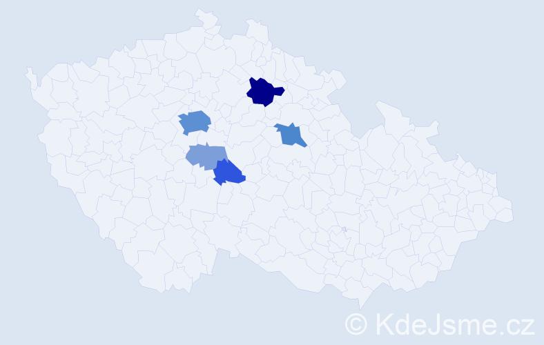 Příjmení: 'Krámek', počet výskytů 26 v celé ČR