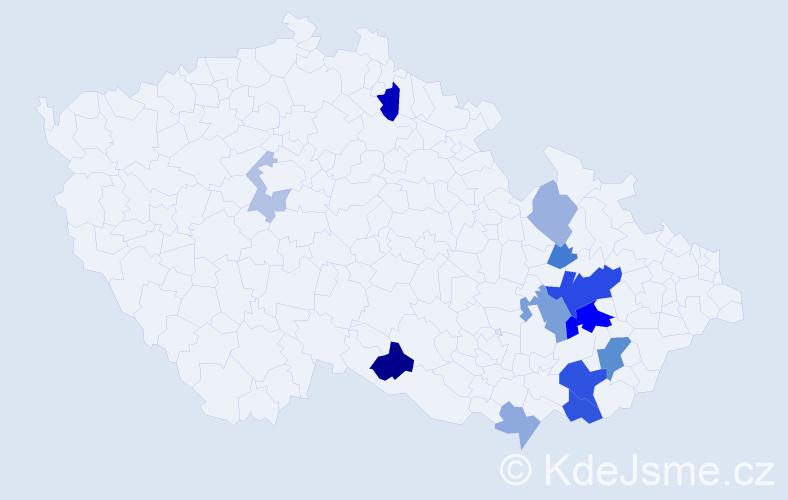 Příjmení: 'Inderka', počet výskytů 30 v celé ČR