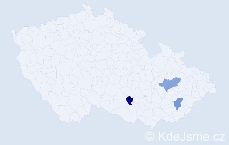 Příjmení: 'Kefer', počet výskytů 5 v celé ČR