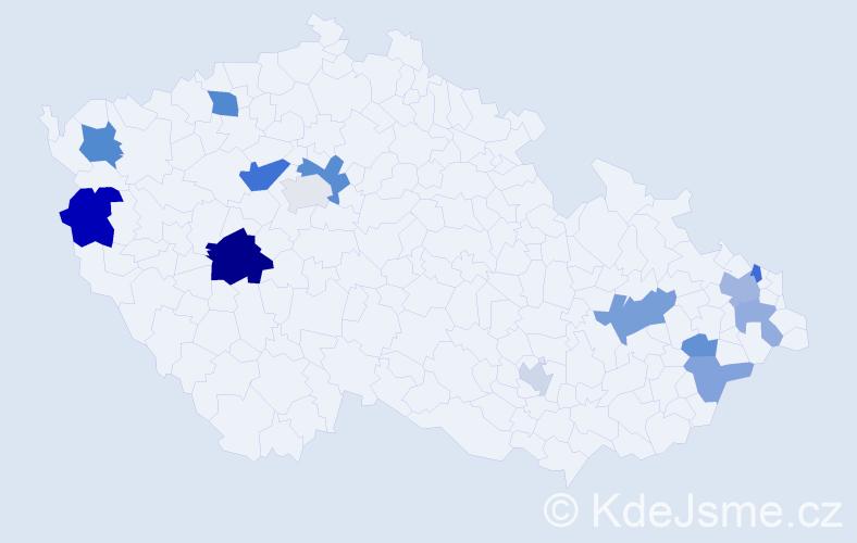 Příjmení: 'Liba', počet výskytů 25 v celé ČR