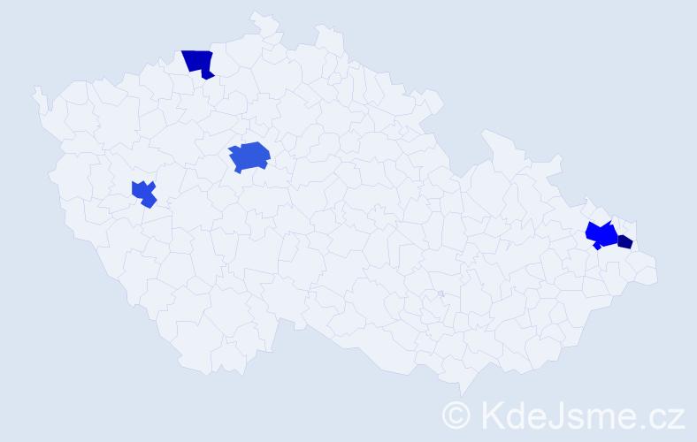 Příjmení: 'Lániová', počet výskytů 10 v celé ČR