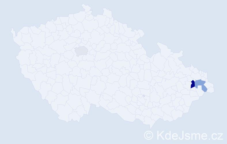Příjmení: 'Ičová', počet výskytů 4 v celé ČR