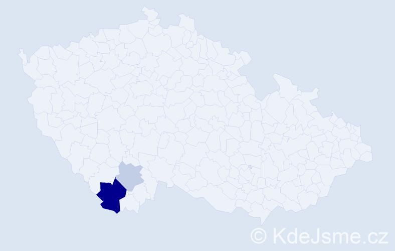 Příjmení: 'Červonyj', počet výskytů 5 v celé ČR