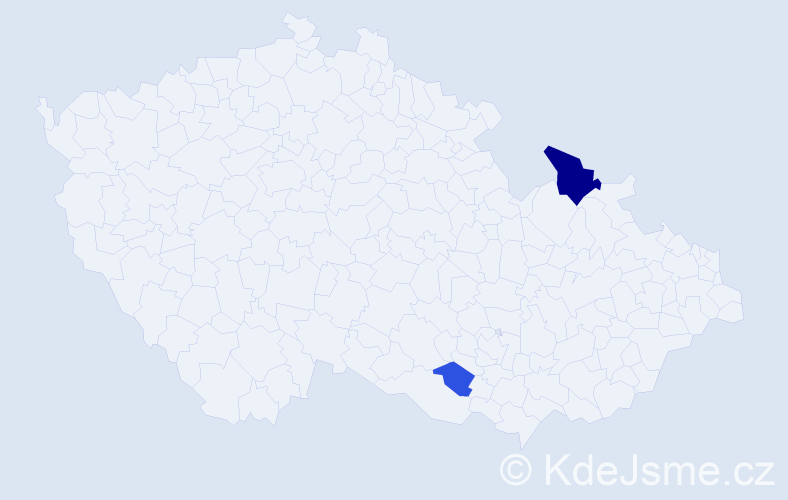 Příjmení: 'Dubčík', počet výskytů 8 v celé ČR