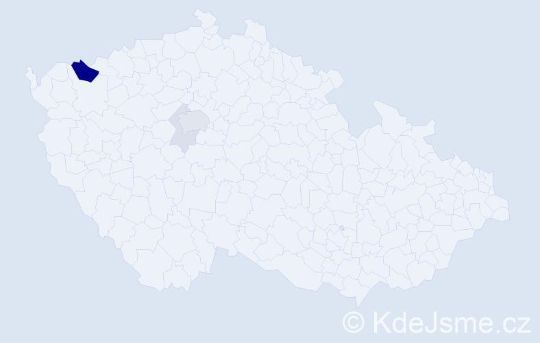 Příjmení: 'Barnoky', počet výskytů 13 v celé ČR
