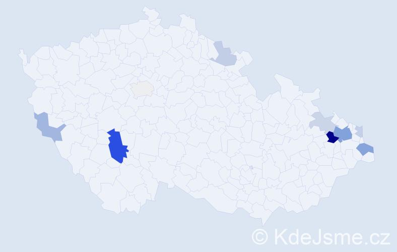 Příjmení: 'Čišecká', počet výskytů 24 v celé ČR