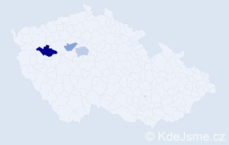 Příjmení: 'Gaydošová', počet výskytů 5 v celé ČR