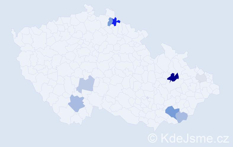 Příjmení: 'Kadašiová', počet výskytů 15 v celé ČR