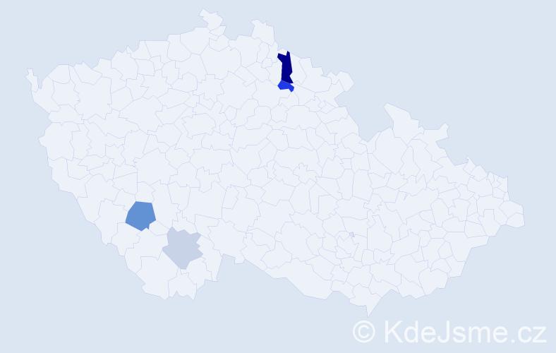 Příjmení: 'Hollmanová', počet výskytů 13 v celé ČR