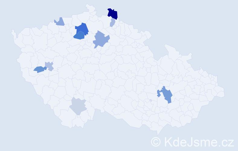 Příjmení: 'Heitzer', počet výskytů 20 v celé ČR